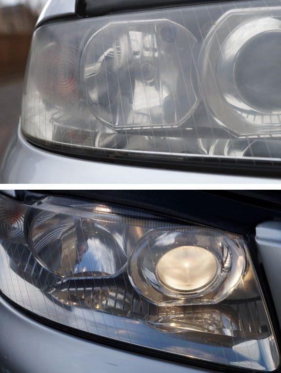 Blinder / Trüber Autoscheinwerfer vor und nach der Aufbereitung.